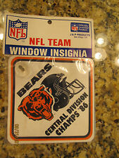 CHICAGO BEARS - NFL TEAM WINDOW INSIGNIA - CENTRAL DIVISION CHAMPS '86 1986 NIP