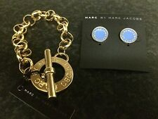 Brand New! MARC BY MARC JACOBS Bracelet & Earrings set Gold Blue GORGEOUS!