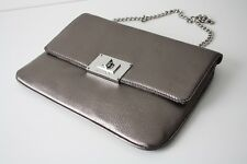 MICHAEL KORS Leather BAG/CLUTCH SLOAN gunmetal/silver - grey leather