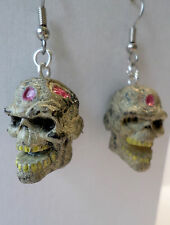 """Walking Dead-like Zombie Planet  Decay Ray Dangle Earrings 1"""" HORROR HEADS"""