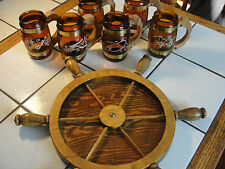 Set of 6 Siesta Ware brown glass mugs, Western themed, with nautical wood tray