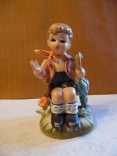 Vintage Arnart 5th Ave Boy With Umbrella Figurine 4 1/2 Inches Tall