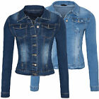 Damen Jeans Jacke Used-Look Women Blue Denim Jacket Blau 34-42 D-156 D-157 NEU