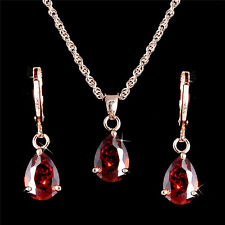Yellow Gold Plated RUBY RED CZ Crystal Earrings Pendant Necklace Jewelry Set UK