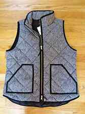 J. CREW Excursion Vest Quilted Down Puffer BLACK Zip Herringbone L Large NWT