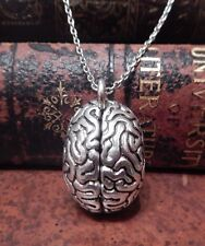 SILVER BRAIN PENDANT science necklace charm zombie mad scientist anatomic IQ F1