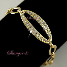 18K 18CT GOLD Plated Oval Circle LINK CHAIN BRACELET Gen SWAROVSKI CRYSTAL 71422