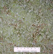 Batik Textiles Fabric - Moss Green Vine Scroll - Quilt Cotton YARD