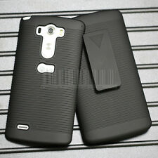 Black Swivel Holster Stand Belt Clip Case Rugged Hard Cover Skin For LG G3