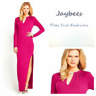 Size 16 Simply Fab Hot Pink Side Split Diamante Necklace Maxi DRESS Be Party New