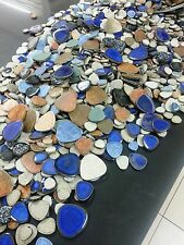 2 kilo box of loose Multicolour pebble shaped stoneware ceramic mosic tiles