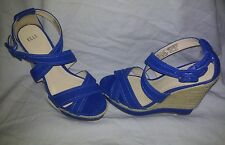 Elle Blue Strappy Platform Wedges Womens Shoes Sandals Size 8.5 Medium