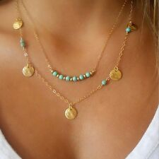 Gold Plated Two Layer Turquoise Beads Charm Pendent Necklace Chain Statement