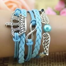 NEW Retro Infinity Imperial crown Wing Charm Bracelet