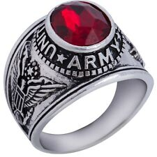 Size 7-15 Retro Vintage Antique United Sates Army Military Ring Red Crystal
