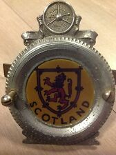 RARE CLASSIC VINTAGE SCOTLAND LION RAMPANT IN TYRE METAL CAR BADGE COLLECTABLE
