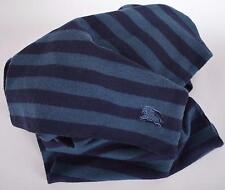NEW BURBERRY CHILDREN'S BLUE PRORSUM LOGO WOOL STRIPED SCARF MUFFLER