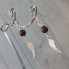 Garnet Wing Earrings & 925 Sterling Silver Ear Hooks Goth Wicca Guardian Angel