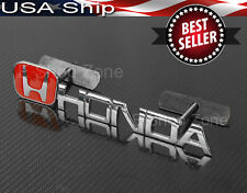 "4.13"" x 1"" Metal Chrome Red H Badge Emblem w/ Bracket For Honda Acura Grille"