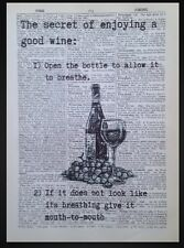 Wine Quote Vintage Dictionary Print Picture Wall Art Friends Gift Funny Sign