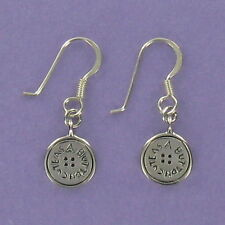 Button Earrings with CUTE AS A BUTTON Engraved Sterling Silver Wires Little Girl