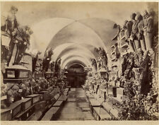 Photo Albuminé Palermo Cappuccini Catacombe Italie Vers 1880