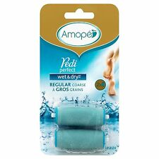 Amope Pedi Perfect Wet & Dry Refill Pack, Regular Coarse (2 Replacement Heads)