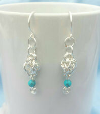 Silver Earrings 4 Winds Chain Maille Earrings with Imitation Turquoise Beads