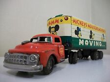 Vintage Linemar Tin Friction Disney Mickeys' Mouse Ke Movers Trailer Truck