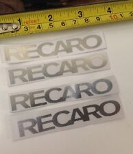 4 SMALL CHROME EFFECT RECARO STICKERS SET RACE RALLY HIGHEST QUALITY CAR DECAL