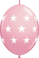 """10ct LT PINK BIG STARS Quicklink 12"""" Latex Helium Linking Balloons ARCHES ARBORS"""