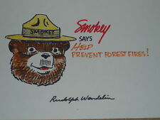 "Rudolph Wendelin hand drawn and signed ""Smokey the Bear"" Sketch 7 x 11.Mint"