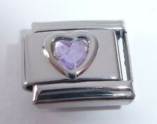 LIGHT PURPLE HEART GEM Italian Charm - Love June Birthstone 9mm Classic Size