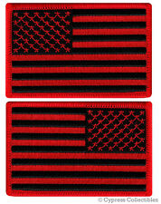 LOT of 2 AMERICAN FLAG EMBROIDERED PATCH iron-on BLACK RED USA UNITED STATES new