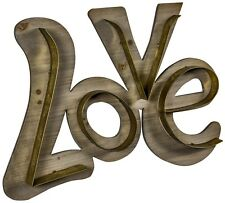 Large LOVE Wooden Brass Metal Wall Art Sign Plaque Vintage Wedding Gift NEW