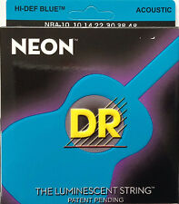 DR Handmade NBA-10 Neon Blue Acoustic Guitar Strings 10-48 gauge
