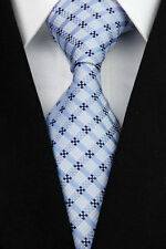 GIFTS FOR MEN Classic Mens Geometric Grid Check Box Silk Necktie Formal Tie Blue