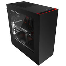 NZXT SOURCE 340 BLACK RED USB3.0 TOWER PC GAMING COMPUTER CASE CLEAR SIDE WINDOW