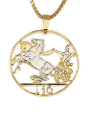 "Italy Roman Knight W/Horse Coin Pendant Necklace. Hand cut 1"" diameter ( # 204 )"