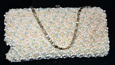 Vintage Richere Handmade White & Blue Ball Beads on Crocheted Evening Bag Japan