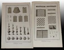 Tabletier Scacchi Dama Tric Trac Tabacchiera Diderot et D'Alembert 4 tavole 1772