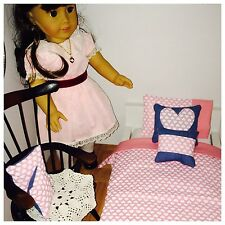 "Sweet Heart Valentines theme American girl doll or 18"" Dolls 7 Piece Bedding Set"