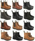MENS LEATHER SOLE DM SLIP PULL ON MLB CHELSEA DEALER BROGUE ANKLE SMART BOOTS SZ
