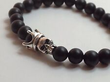 MENS Matte Black Onyx Gemstone Sterling Silver 925 Skull Beaded Stretch Bracelet