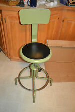 Vtg green Metal Industrial Adjustable Drafting Chair Swivel Stool Machine Age