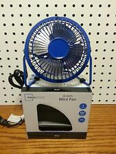 MAINSTAYS BLUE METAL FAN 4 INCHES NEW IN BOX
