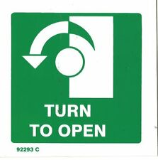 TURN LEFT TO OPEN SIGN EXIT SIGN RIGID PLASTIC 100x100mm