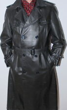 Men's Elegant Luxurious Leather Black Trench Jacket Coat German 50 / UK 40 / M