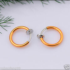 orange Fake Stud Earrings Goth Punk Clip On Piercing Body Nose Lip Rings Hoop 2p