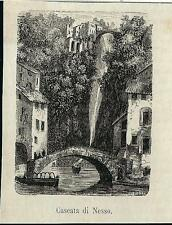 Stampa antica NESSO piccola veduta cascata Lago di Como 1881 Old antique print